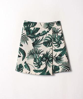 リーフプリントスカートパンツ