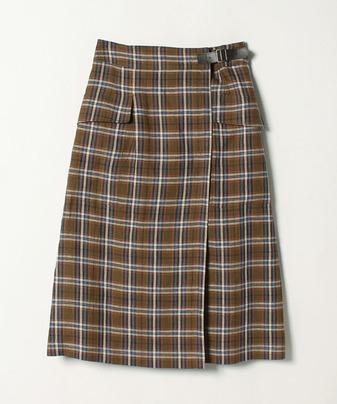 ダークチェックラップスカート
