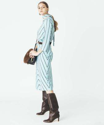 【セットアップ対応商品】ペンシルストライプバイヤススカート