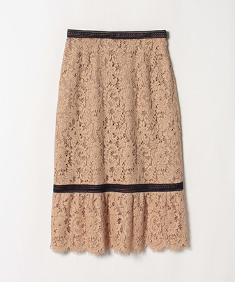 【セットアップ対応商品】【Loulou Willoughby】ラッセルレース裾ギャザータイトスカート