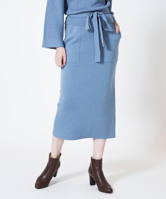 ウールスムースパッチポケットタイトスカート