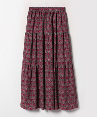 ウォールペーパープリントティアードスカート