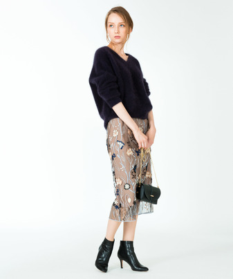 【セットアップ対応商品】BLUE GARDEN刺繍タイトスカート