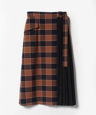 チェック&プリーツラップスカート