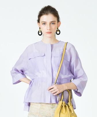 綿ナイロンシアーポケット付きジャケット