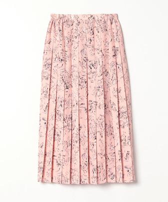 【セットアップ対応商品】【Loulou Willoughby】ランドスケーププリントプリーツスカート