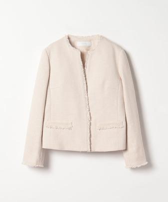 【セットアップ対応商品】スラブツイードキーネックジャケット