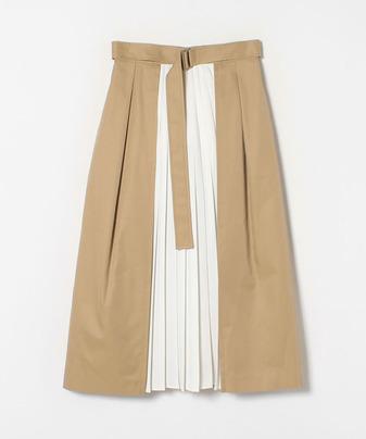 異素材プリーツベルテッドスカート