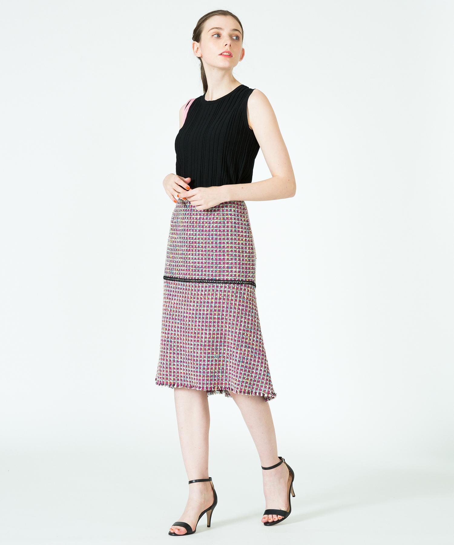 【セットアップ対応商品】カラーツイードペプラムスカート