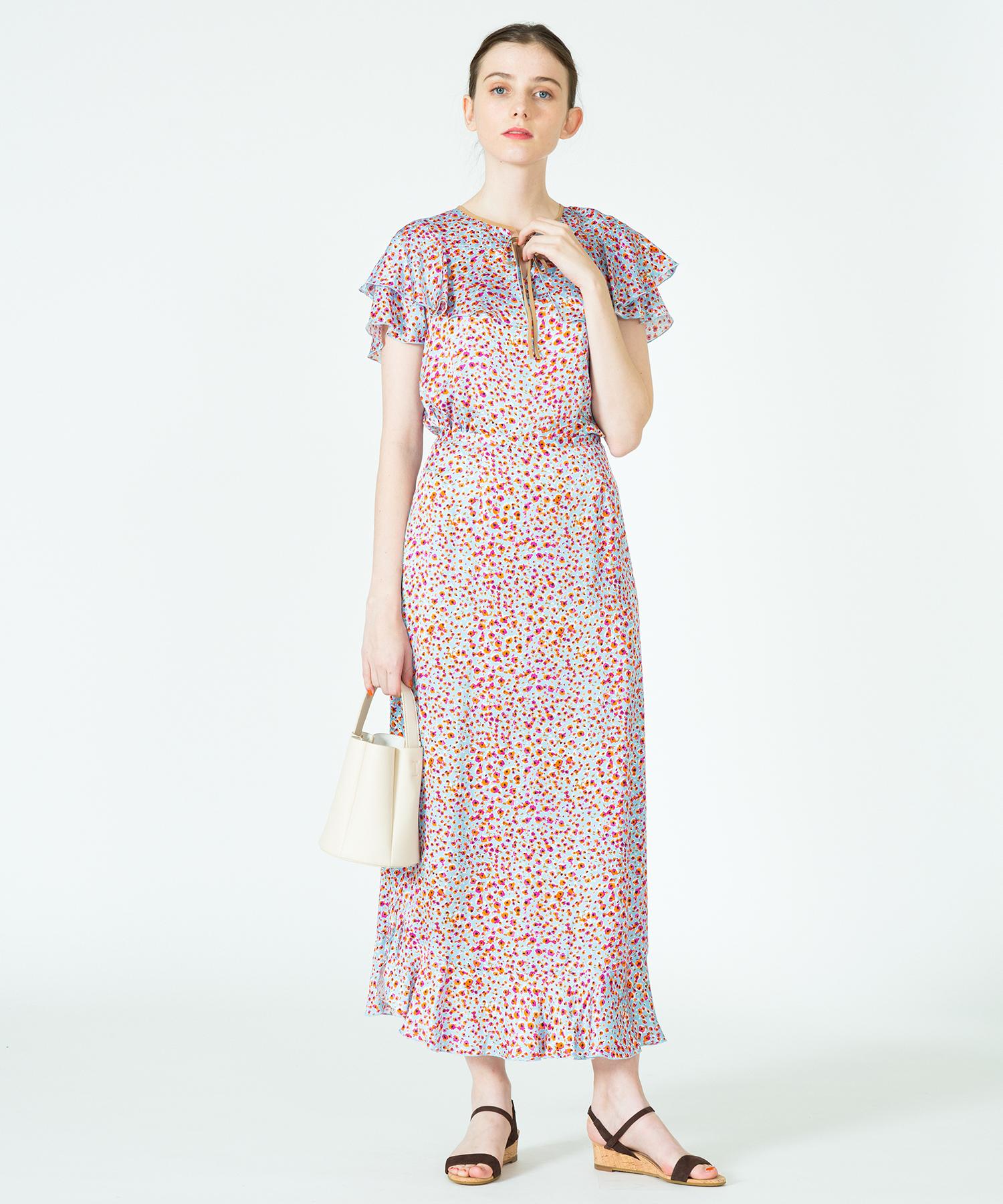 【セットアップ対応商品】スモールペイントフラワー裾フレアスカート