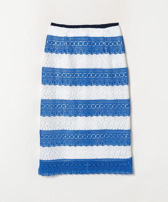 ボーダーレースタイトスカート