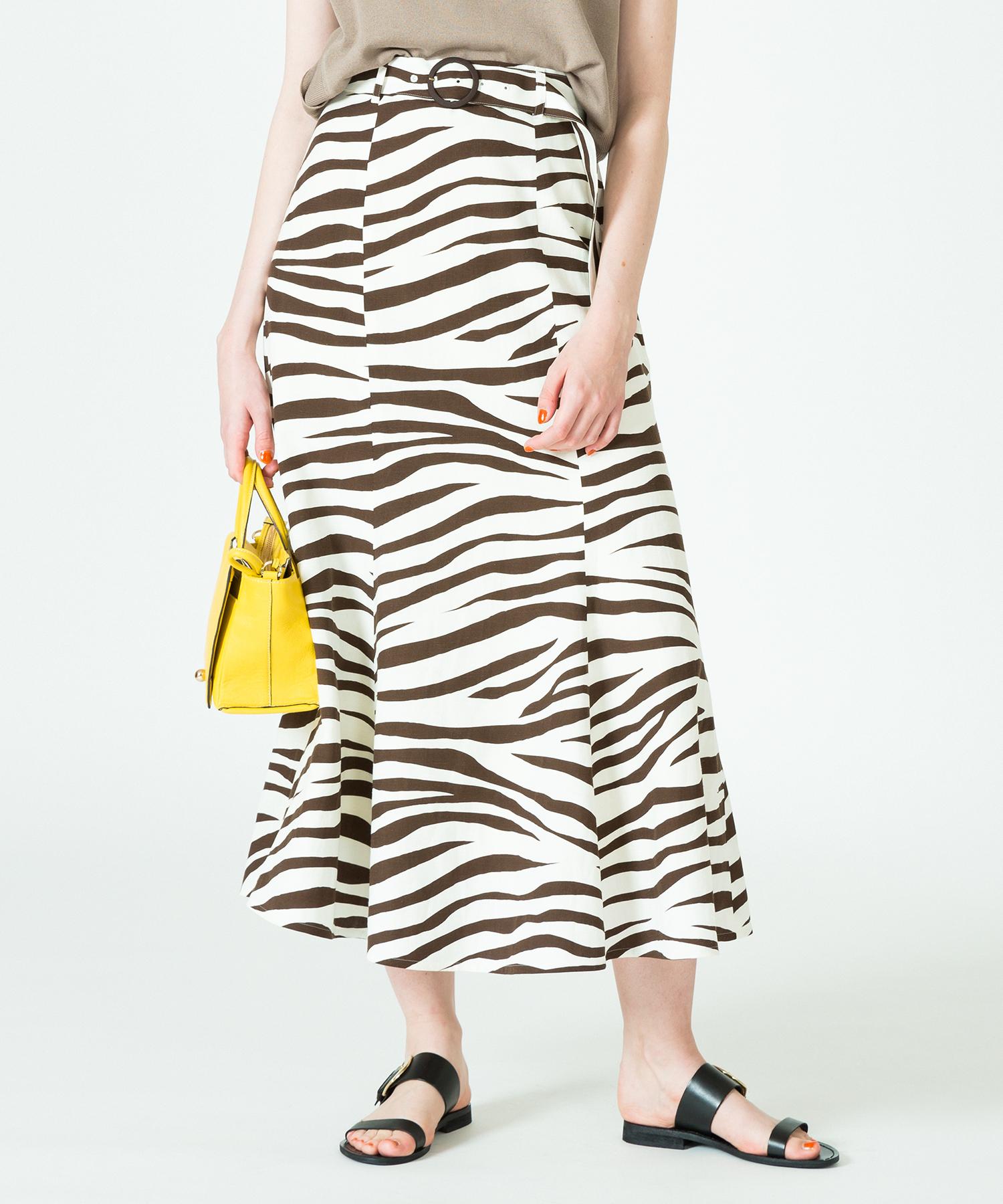 レーヨン麻スラブゼブラマーメイドスカート