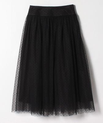 ドットチュールヨークギャザースカート