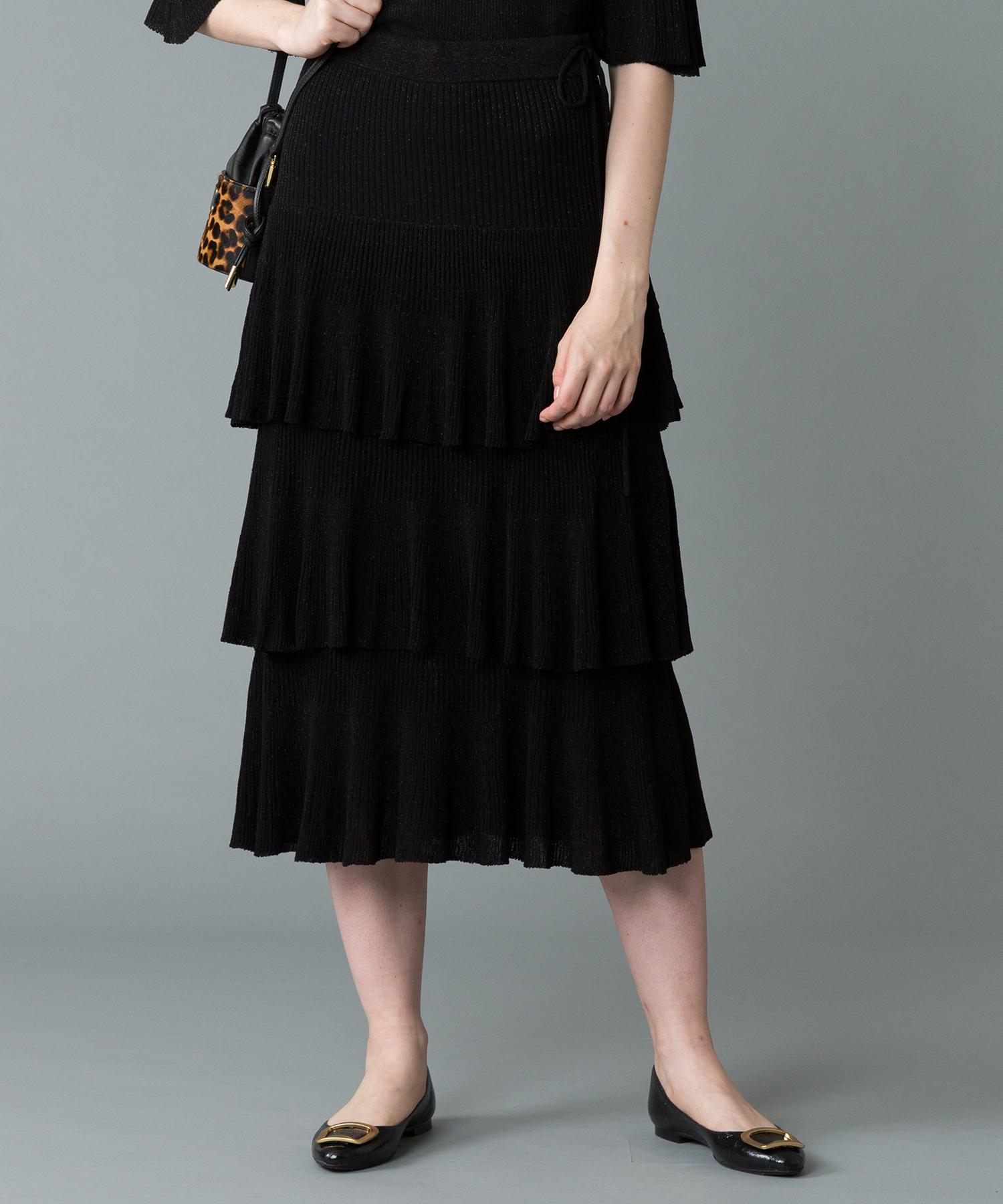 【セットアップ対応商品】【LOULOU WILLOUGHBY】シュガーラメプリーツティアードスカート