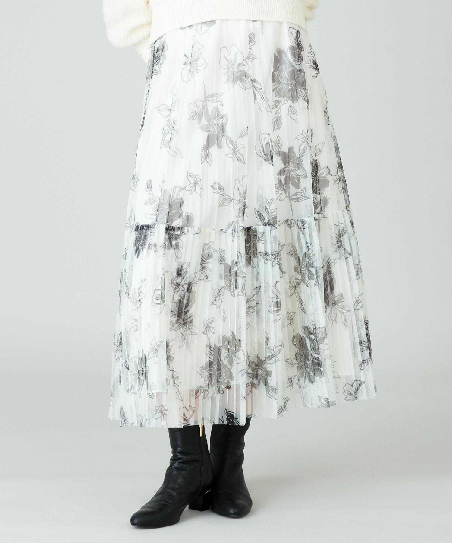 PEチュールフラワープリントプリーツスカート