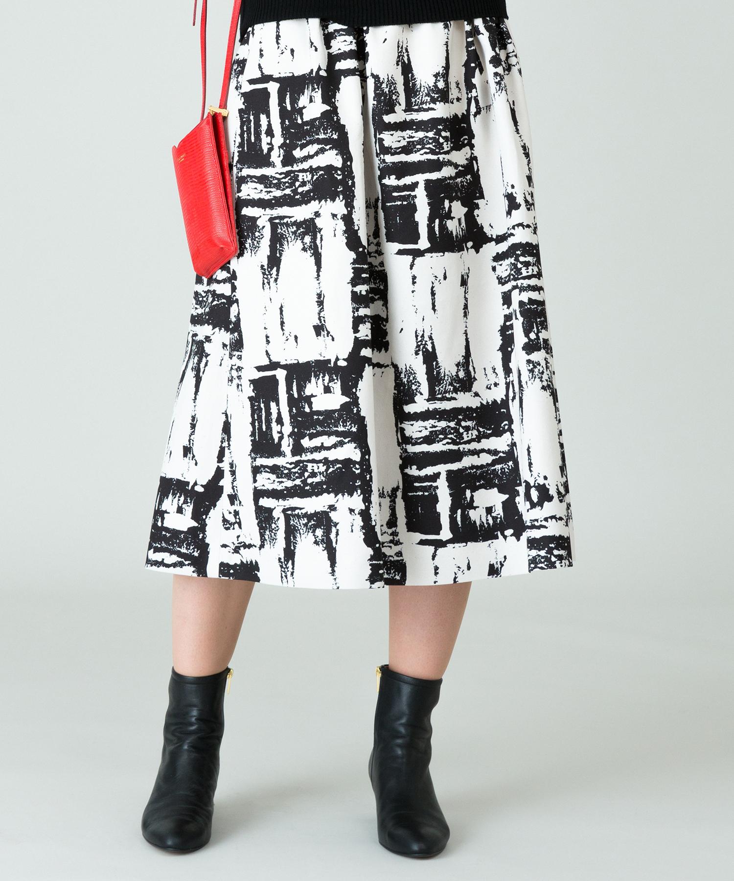 アートプリントボンディングスカート