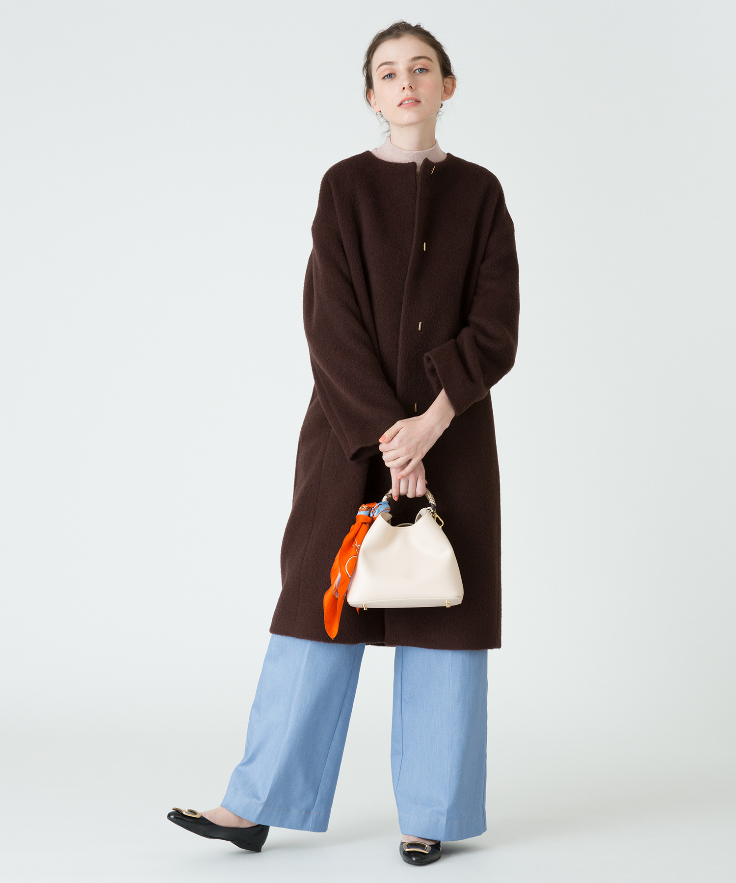【LOULOU WILLOUGHBY】モヘヤシャギーノーカラーコート