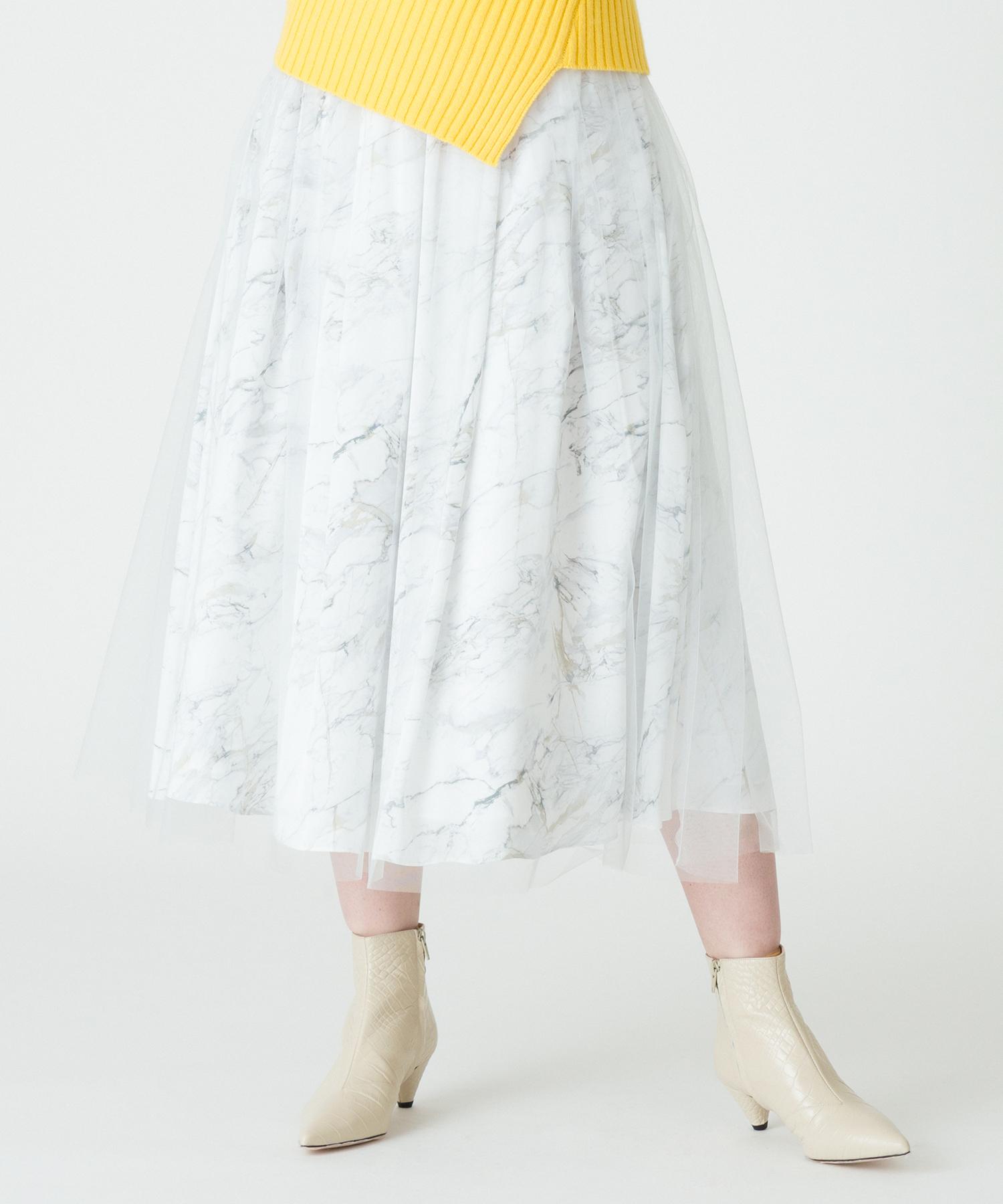 【セットアップ対応商品】マーブルプリントシアーレイヤリングスカート