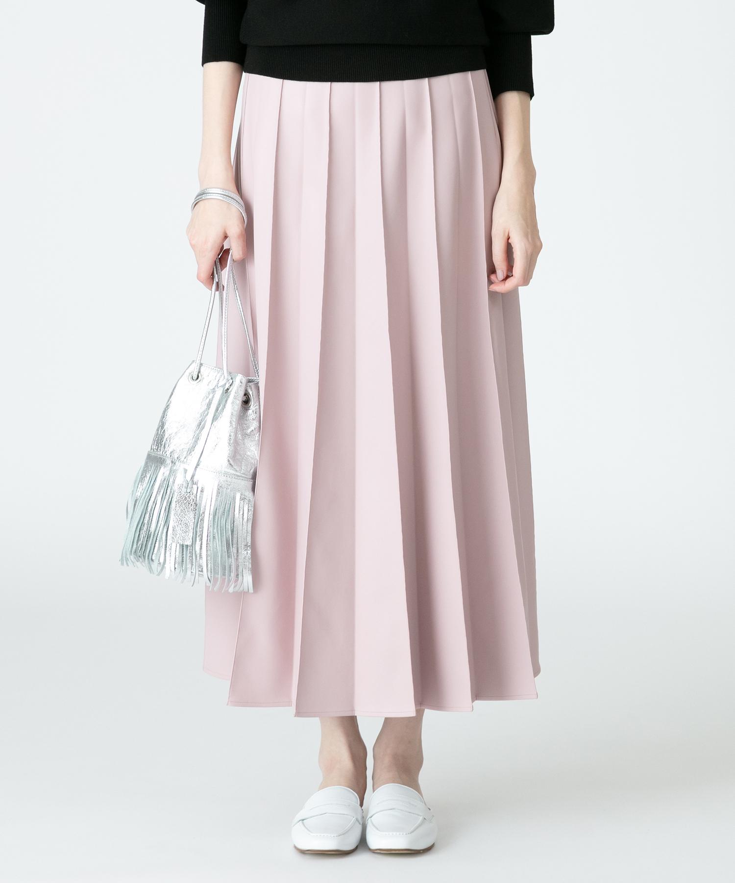 フェイクレザータックプリーツスカート