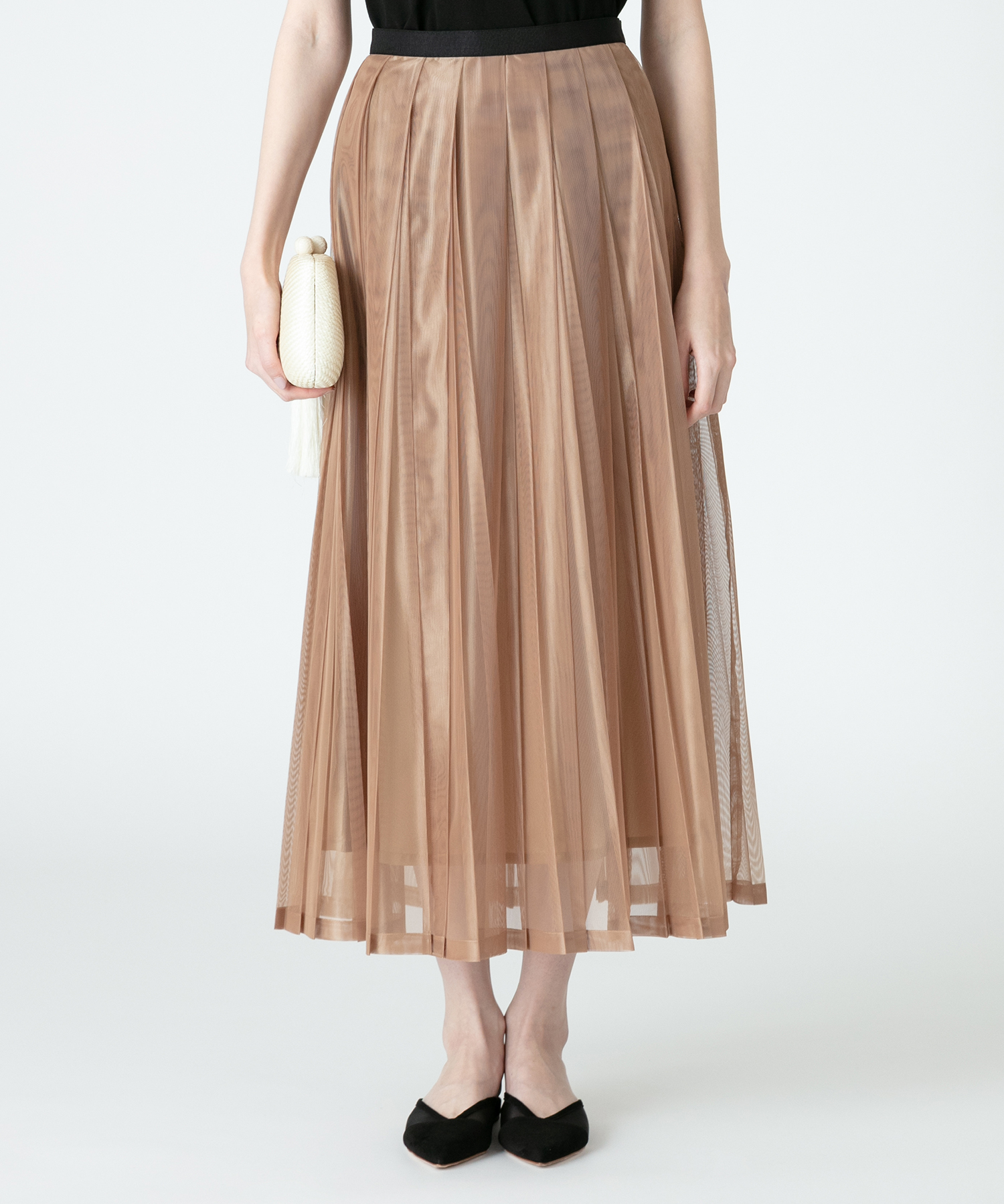 【LOULOU WILLOUGHBY】シャンブレーシアープリーツスカート