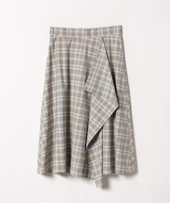 カラーラインチェックアシメラップスカート