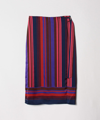 【セットアップ対応商品】マルチストライプラップスカート
