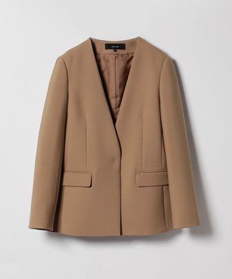 【セットアップ対応商品】TWノーカラーロングジャケット