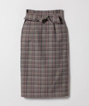 バレンシアチェックハイウエストリボンスカート