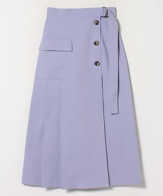 ドビーストレッチ釦付ラップスカート