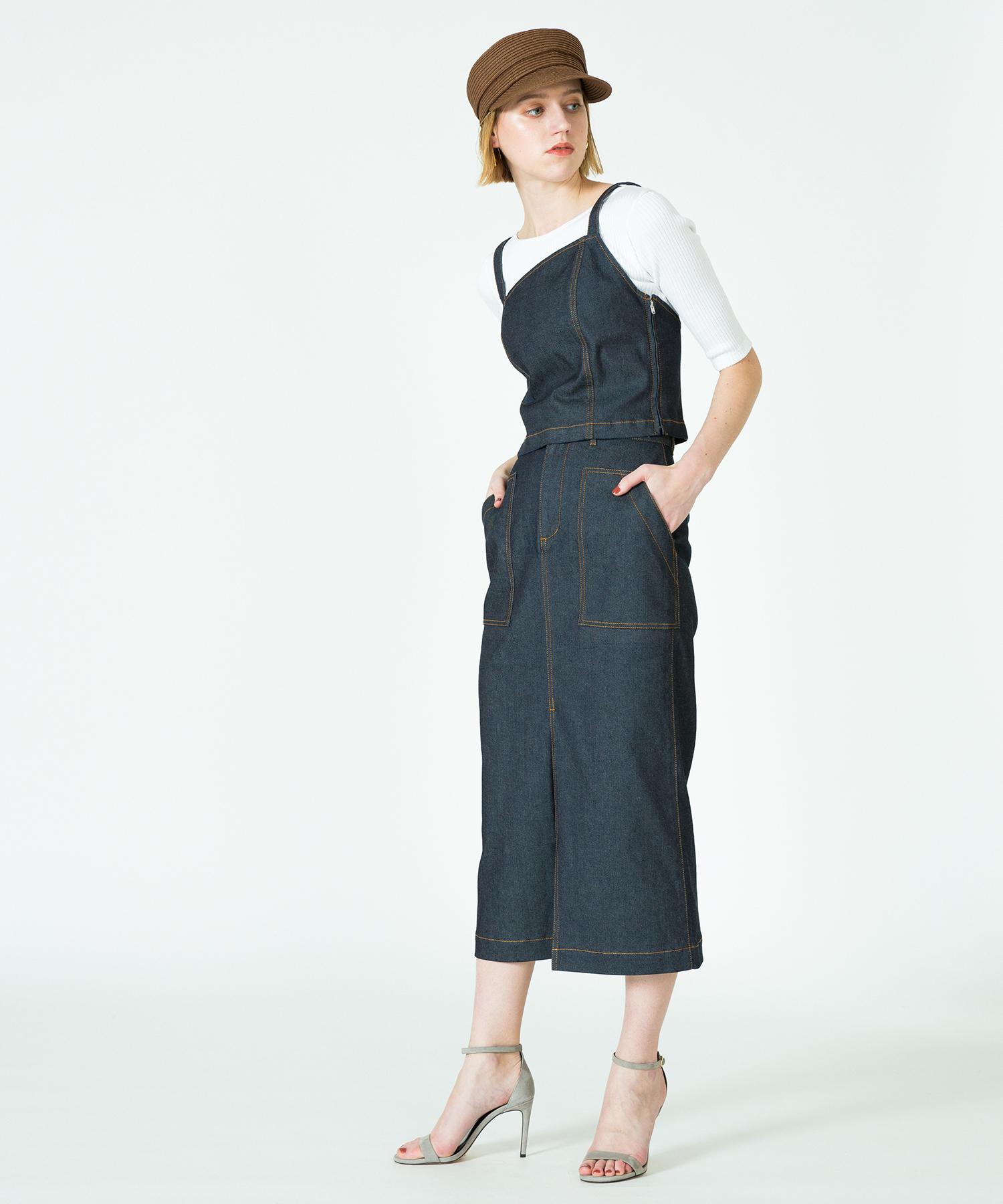 【セットアップ対応商品】デニムフロントスリットタイトスカート