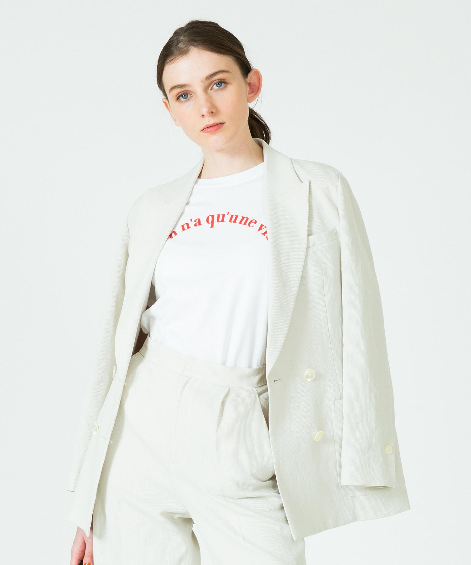 リネンコンピケダブルブレストジャケット