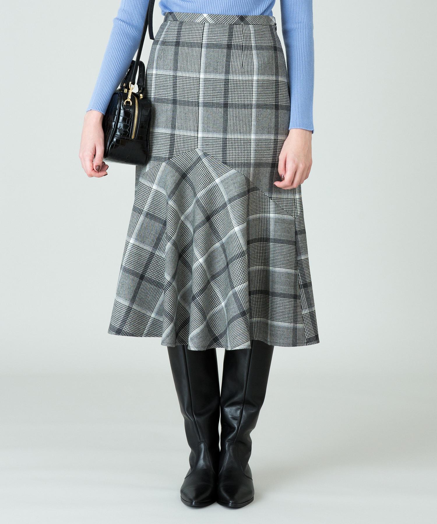 チェックペプラムマーメイドスカート