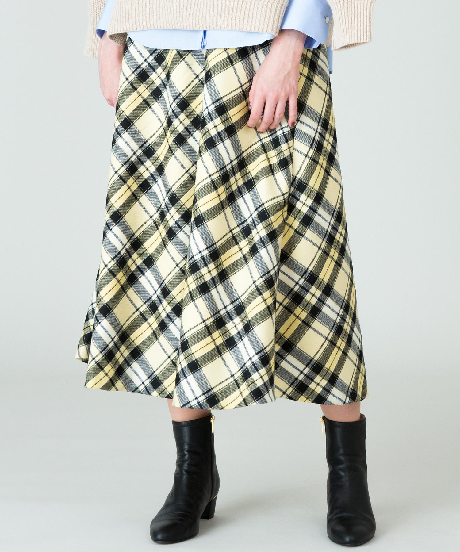 BIGチェックバイヤスフレアスカート