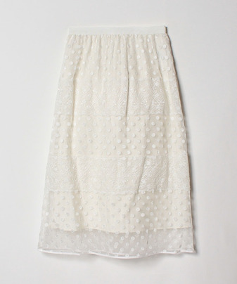 【Loulou Willoughby】【セットアップ対応商品】オーガンジードットシシュウレーススカート