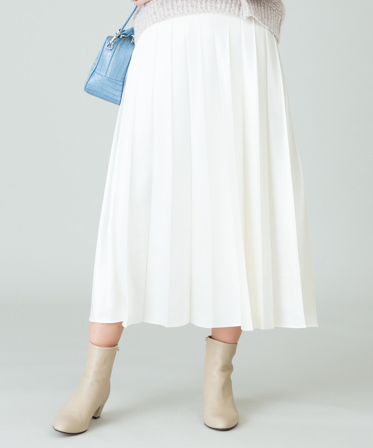 レザーライクワイドプリーツスカート