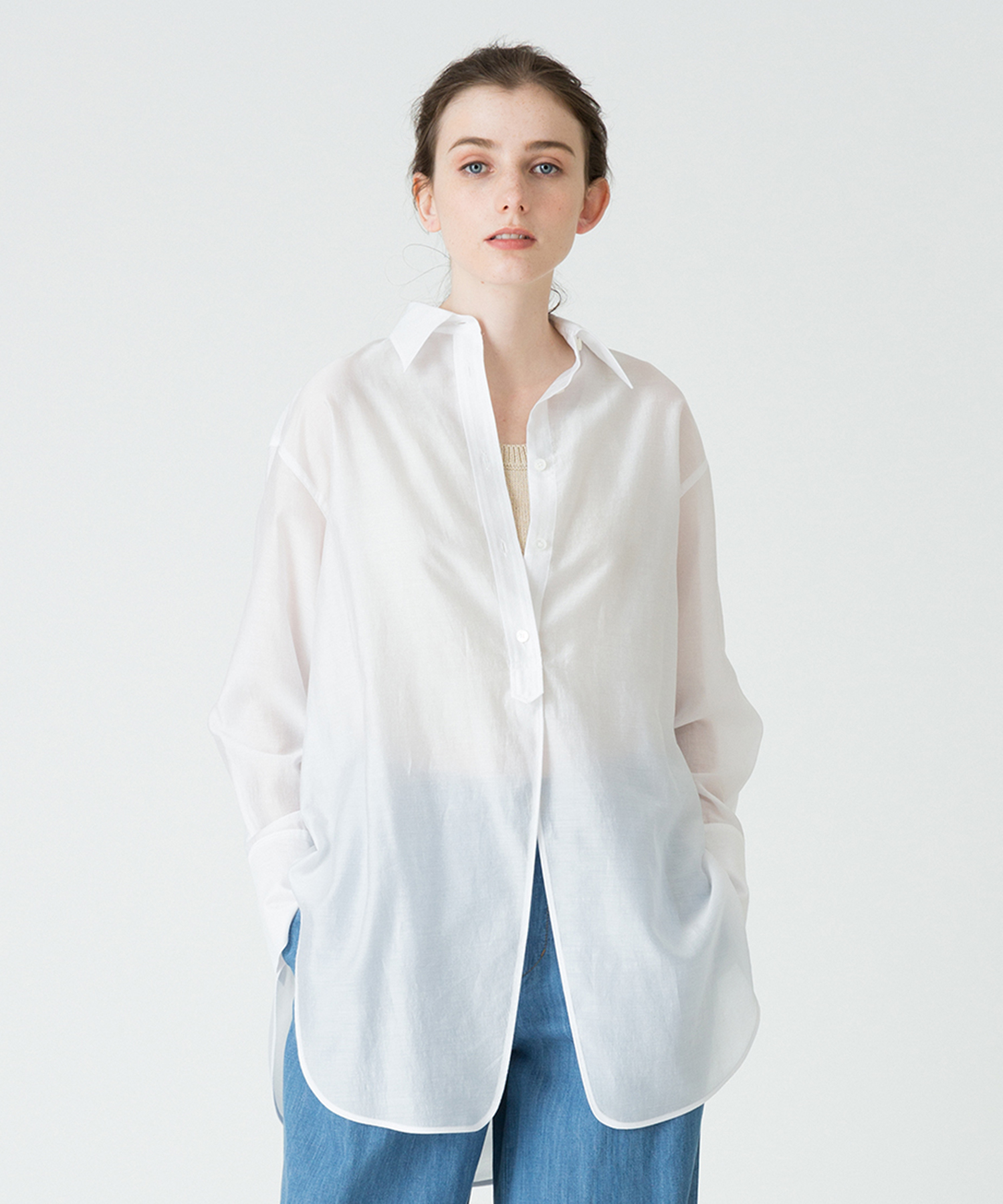 フロントスリットロングシャツ