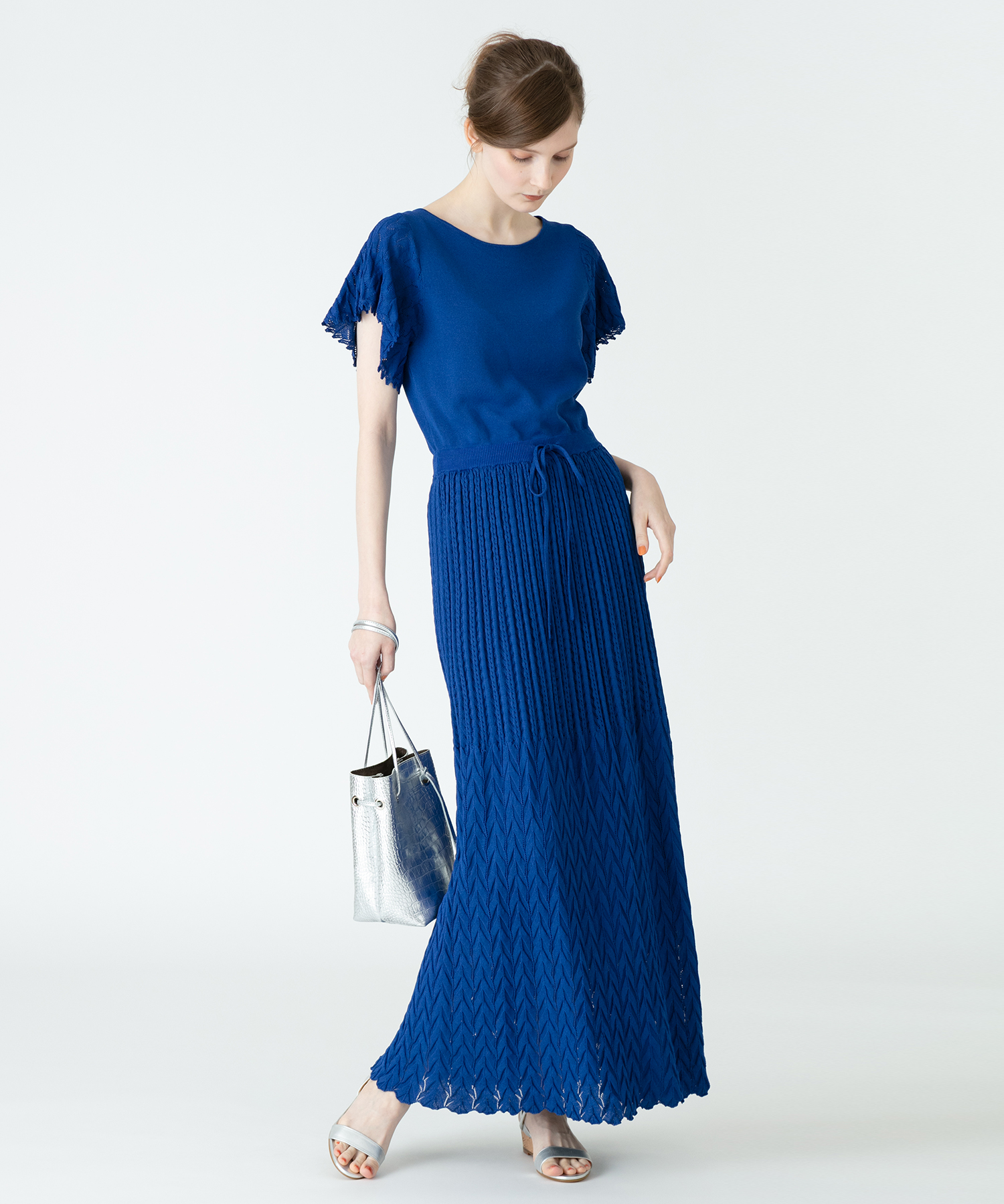 【LOULOU WILLOUGHBY】レーシィニットワンピース