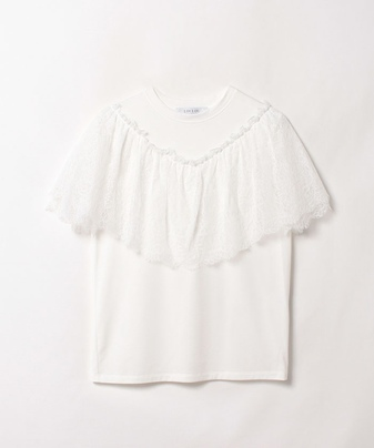 【LOULOU WILLOUGHBY】レースコンビTシャツ