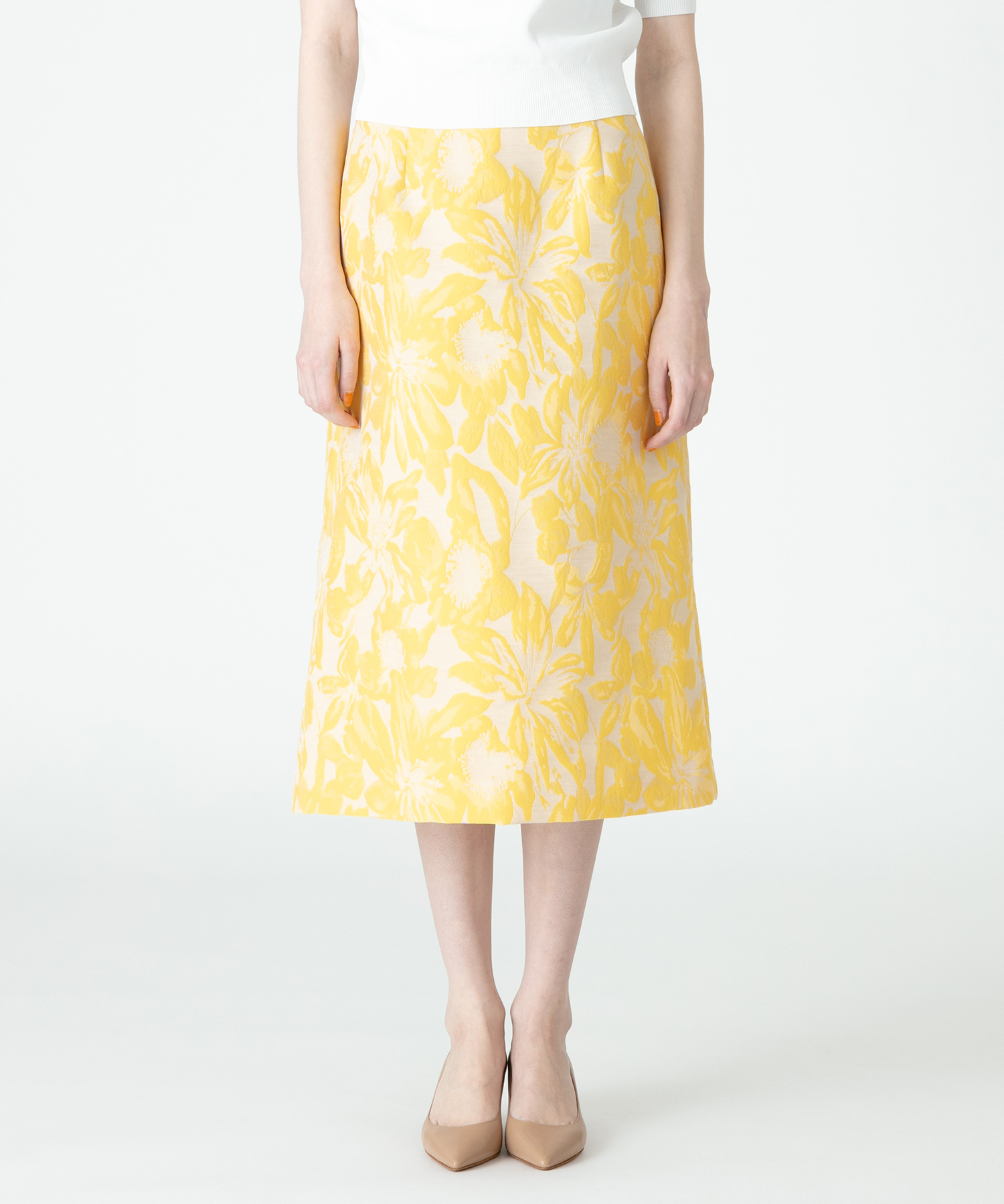 【セットアップ対象商品】【Loulou Willoughby】フラワージャガードAラインスカート