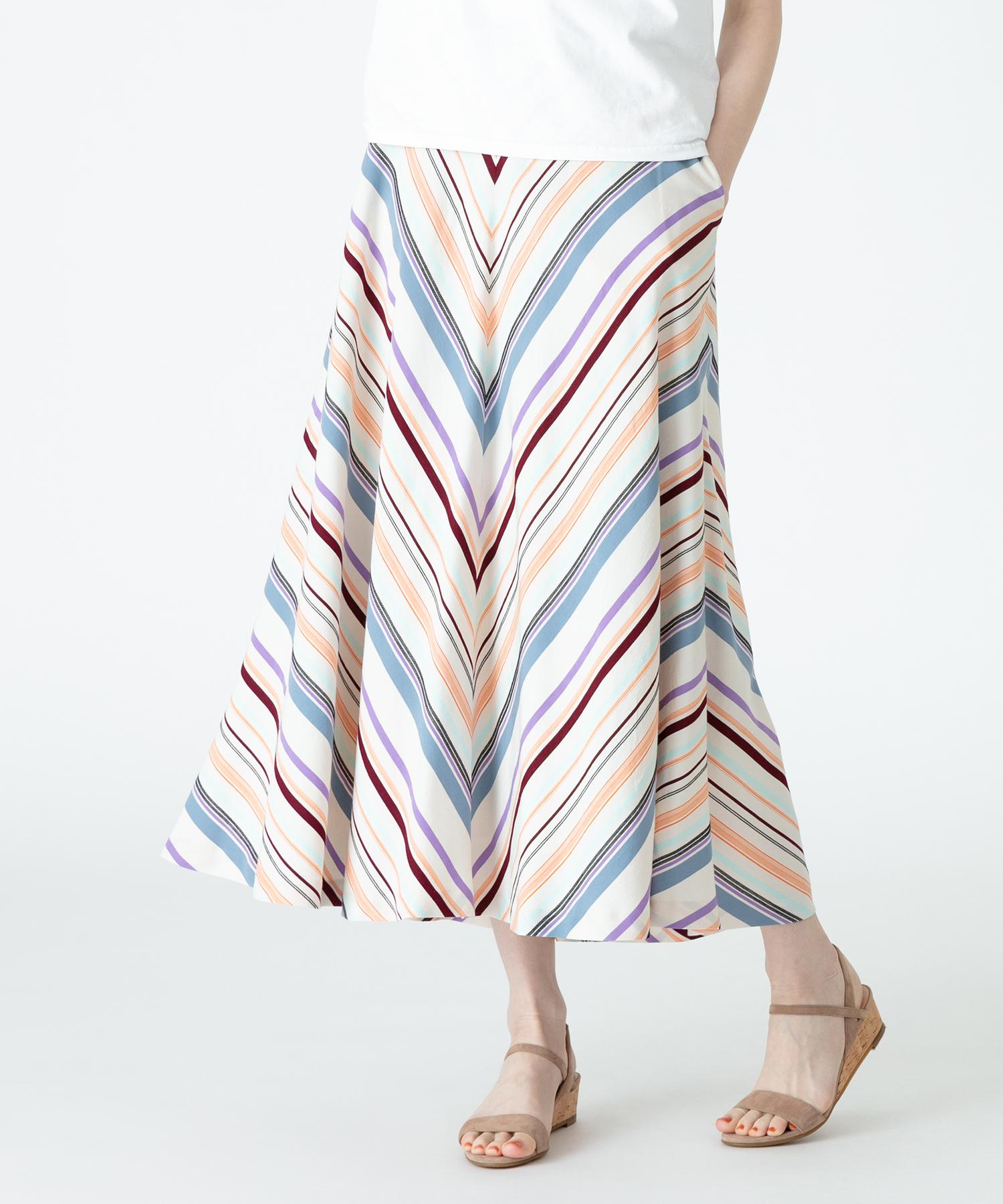 【セットアップ対応商品】マンテコボーダーフレアスカート