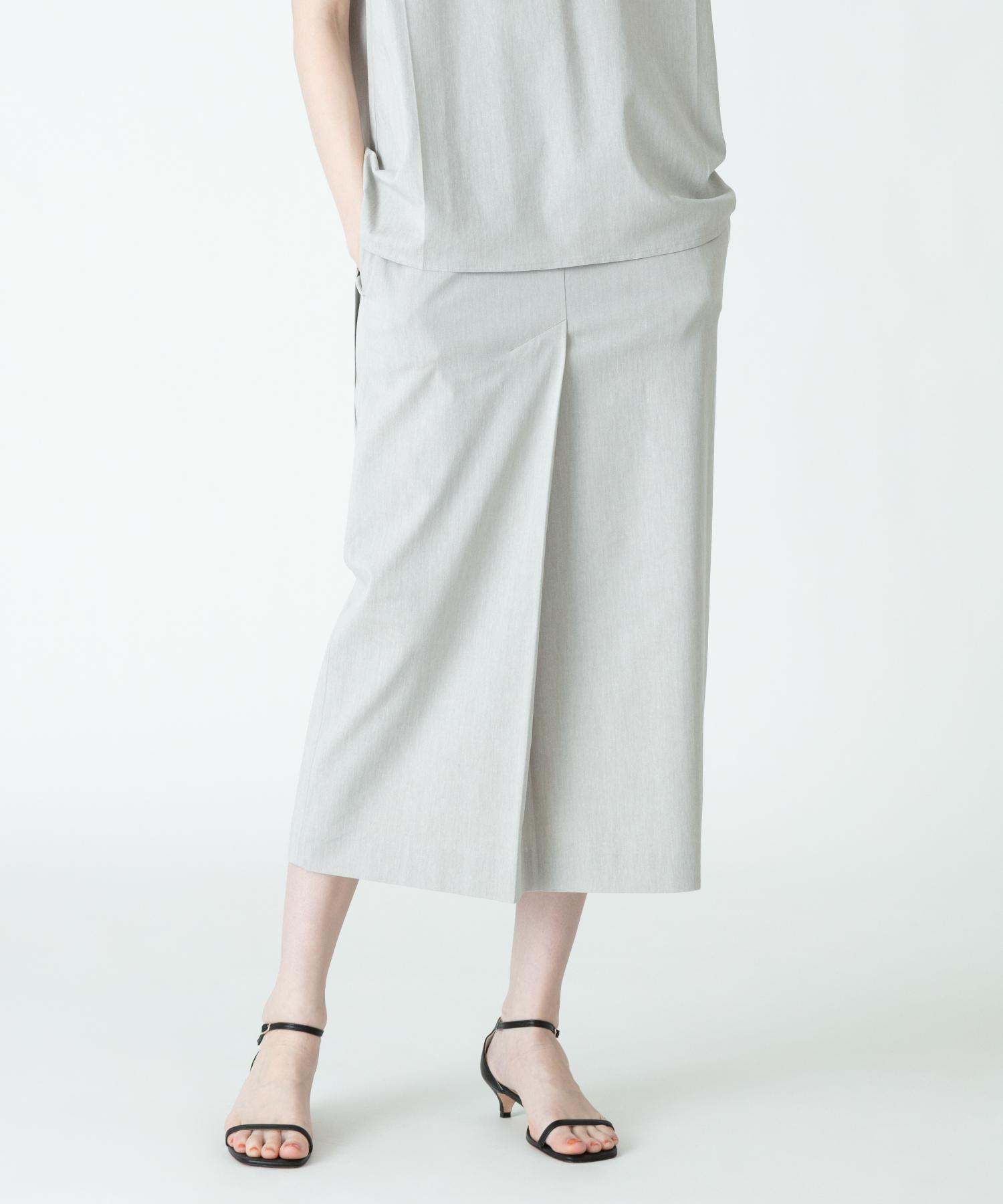 【セットアップ対応商品】レーヨン麻フロントベントスカート