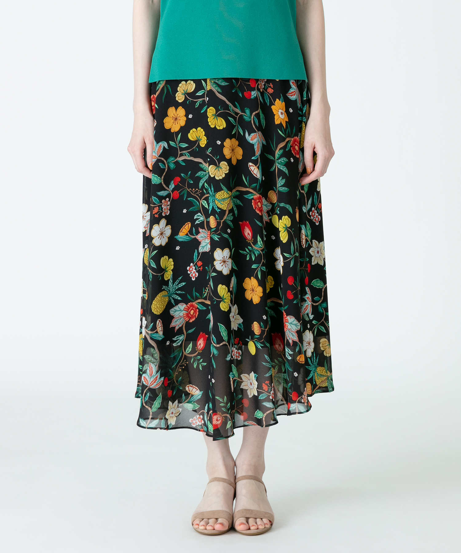 ボタニカルフルーツプリントフレアスカート