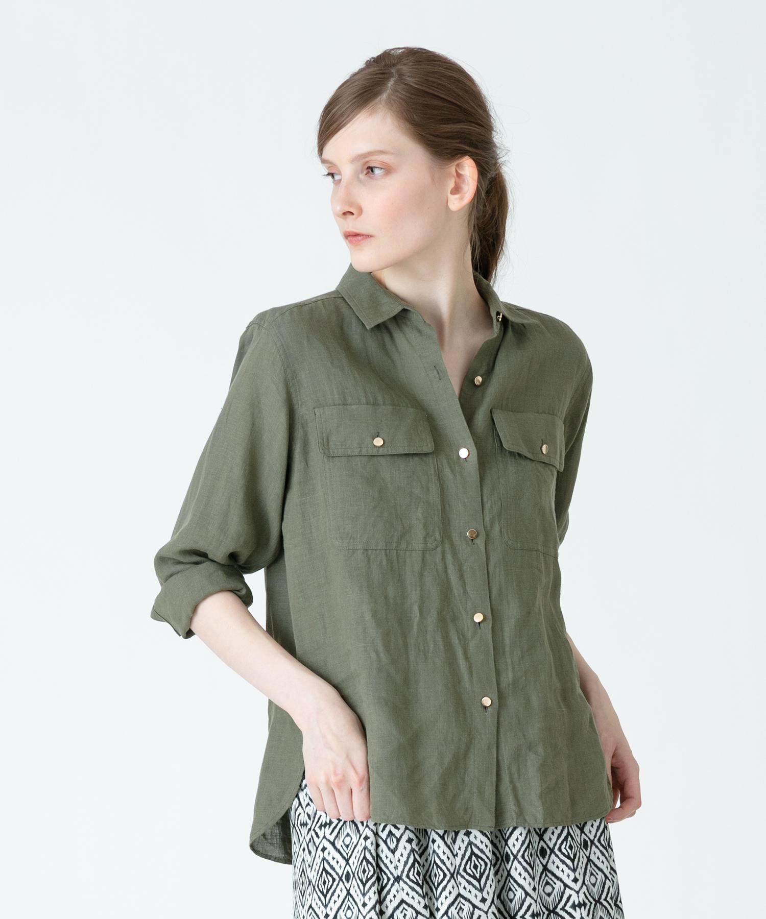 《WEB先行販売》プレーンクロスGD釦リネンシャツ
