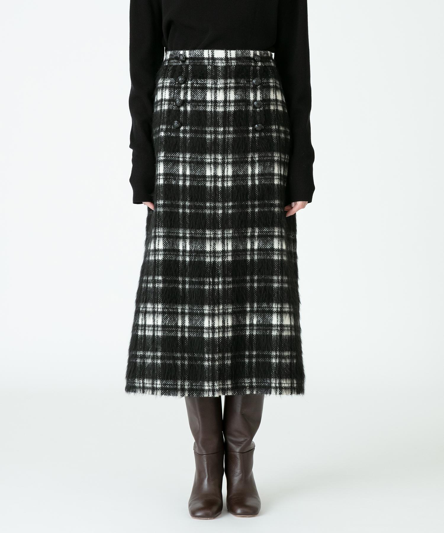 シャギーチェックスリットスカート