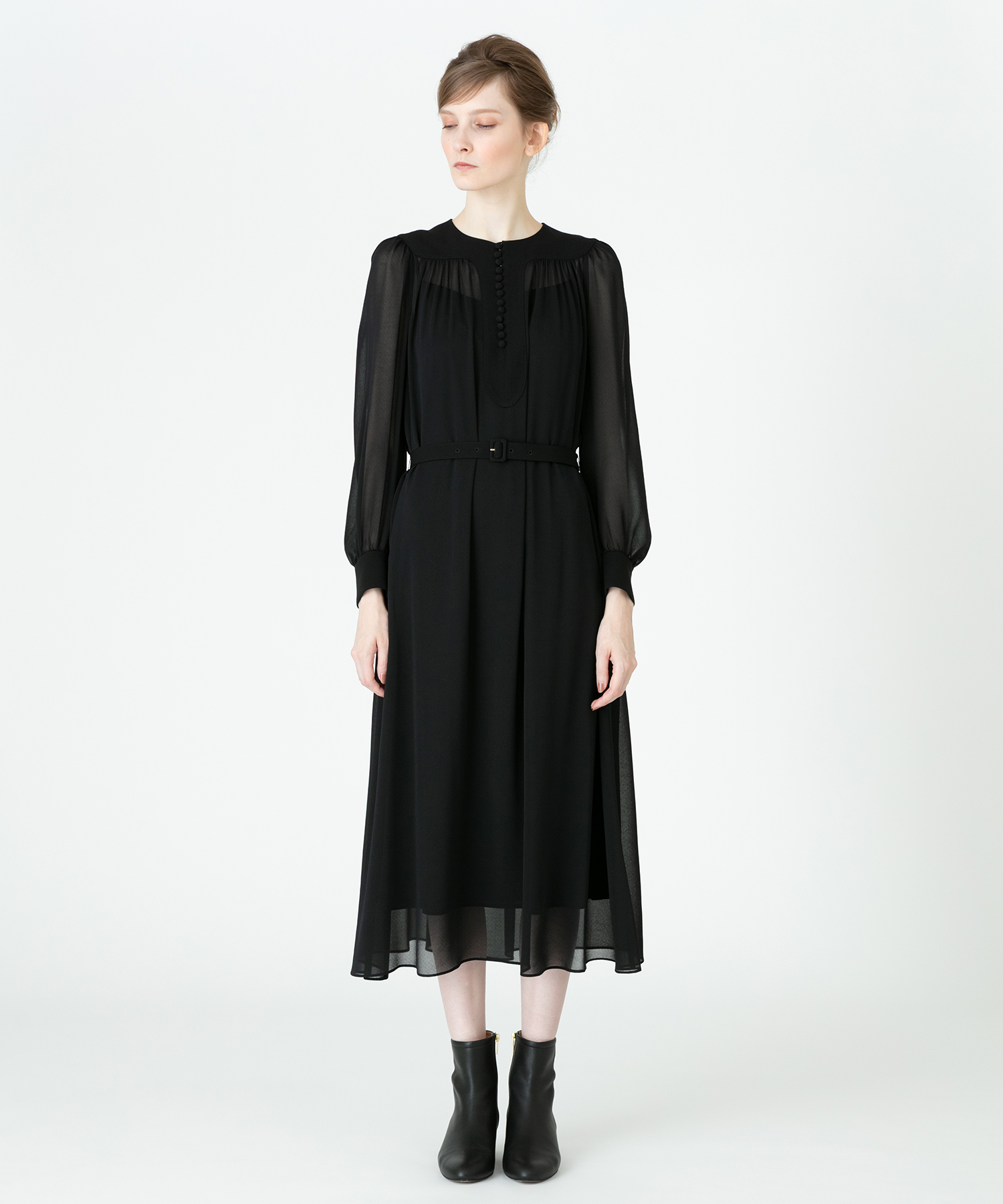 【LOULOU WILLOUGHBY】シルックジョーゼットワンピース