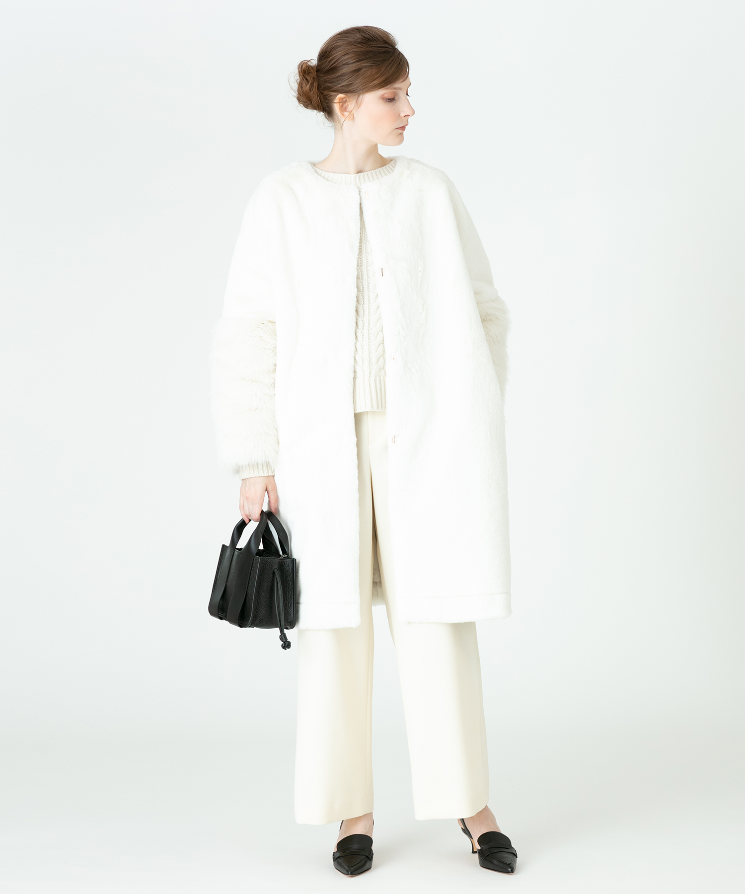 【LOULOU WILLOUGHBY】エコファーノーカラーコート