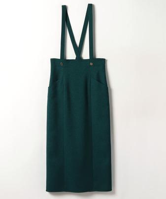 ウールライクメタル釦サロペットスカート
