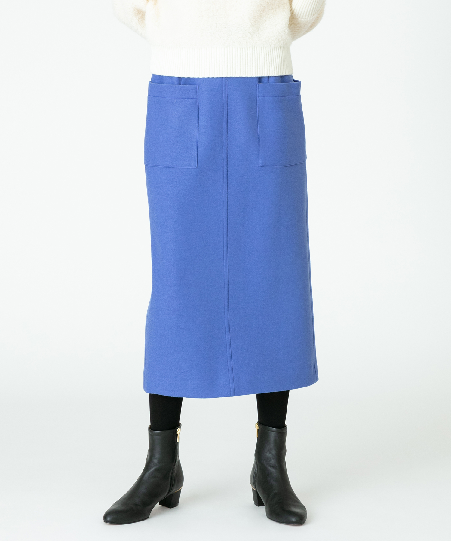 カラーメルトンタイトスカート