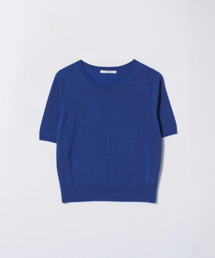 ★シルク×コットンクルー5分袖プルオーバー