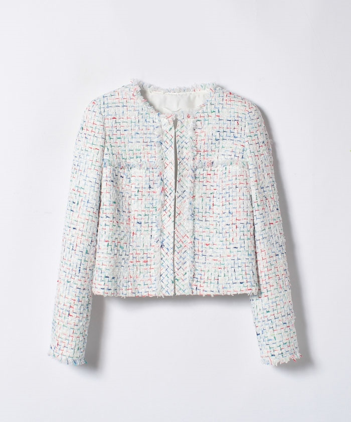 【セットアップ対応商品】ホワイトミックスツイードショートジャケット